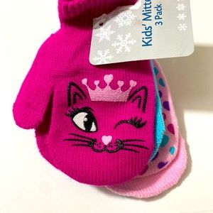 Toddler Girls 3-Pack Of Mittens W/ Kittens/ Hearts